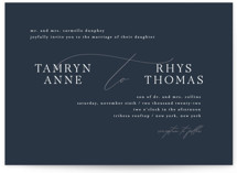 This is a blue wedding invitation by Jula Paper Co. called Waltz with standard printing on signature in standard.