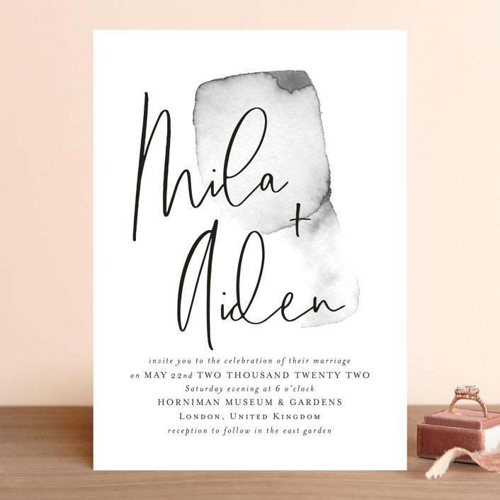 """Moxie"" - Modern Wedding Invitations in Ink by Design Lotus."