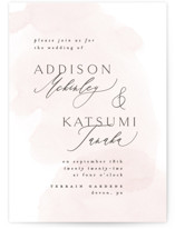 This is a pink wedding invitation by Everett Paper Goods called Softly Layered with standard printing on signature in standard.