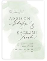 This is a green wedding invitation by Everett Paper Goods called Softly Layered with standard printing on signature in standard.