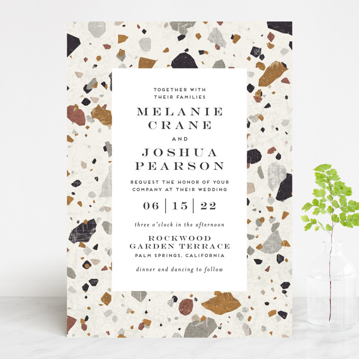 """Terrazzo Frame"" - Modern Wedding Invitations in Mustard by Amy Payne."