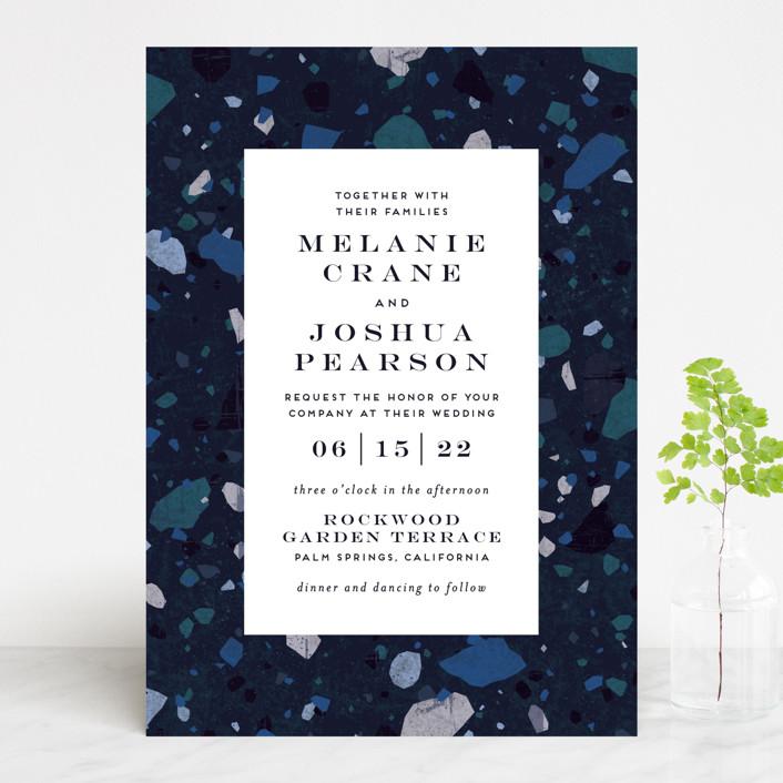 """Terrazzo Frame"" - Modern Wedding Invitations in Mustard by Amy Payne."