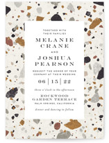 This is a white wedding invitation by Amy Payne called Terrazzo Frame with standard printing on signature in standard.