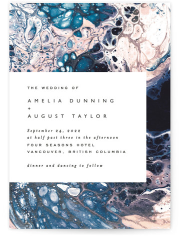This is a blue wedding invitation by Alethea and Ruth called swirl with standard printing on signature in standard.