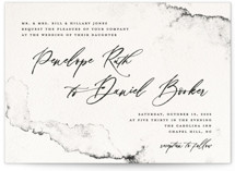 This is a black and white wedding invitation by Pink House Press called Inky with standard printing on signature in standard.
