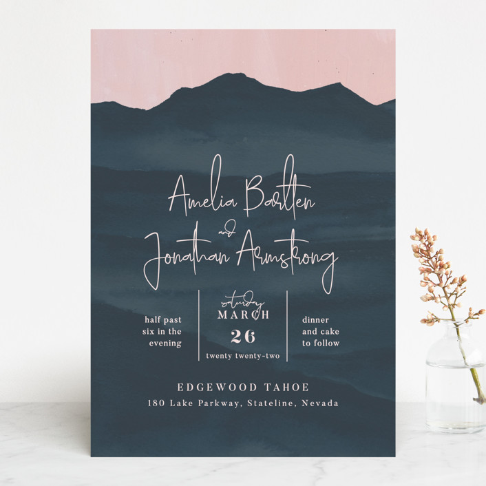 """ridge"" - Rustic Wedding Invitations in Dusk by Krissy Bengtson."