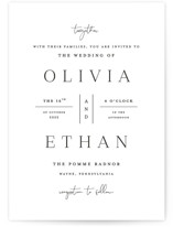 This is a black wedding invitation by Carolyn MacLaren called In Love with standard printing on signature in standard.
