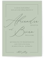 This is a green wedding invitation by Liz Conley called Love Story with standard printing on signature in standard.