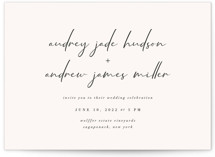 This is a white wedding invitation by Nicoletta Savod called mod with standard printing on signature in standard.