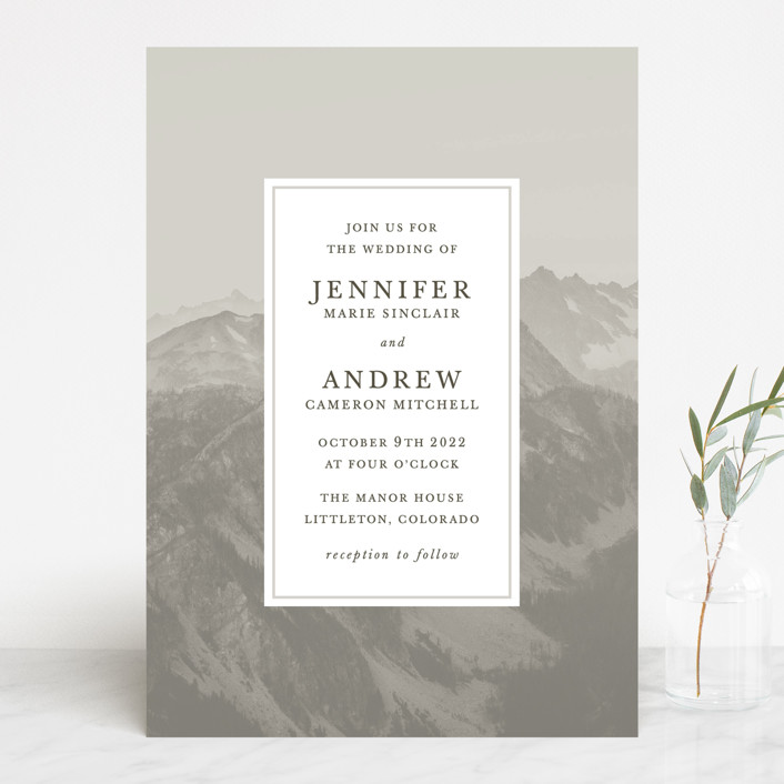 """Modern Mountain"" - Rustic Wedding Invitations in Fog by Gratia Design Co.."