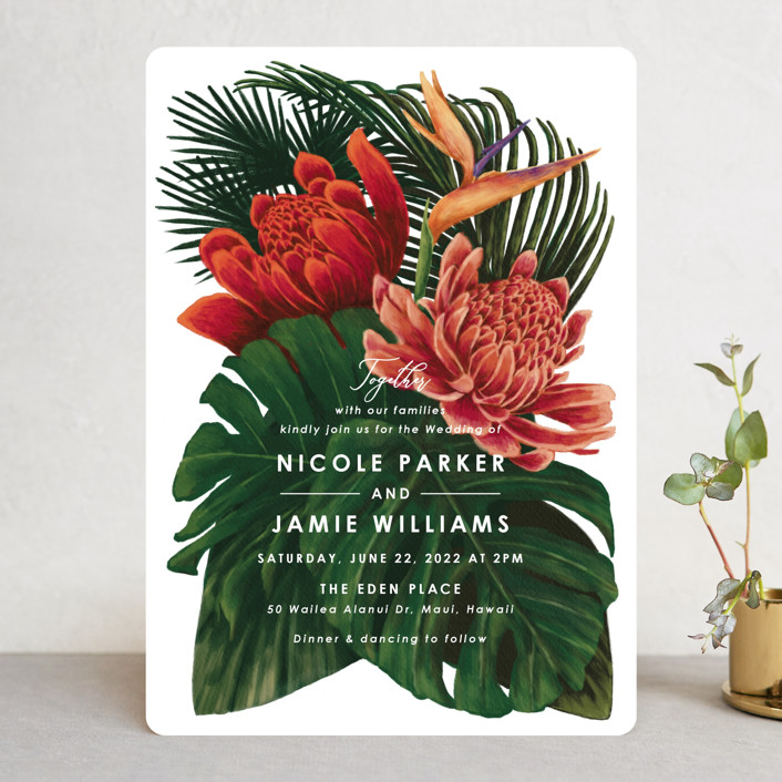 """""""Tropical Bouquet"""" - Wedding Invitations in Basil by Elly."""