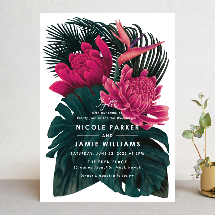 """Tropical Bouquet"" - Wedding Invitations in Basil by Elly."