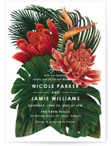 This is a green wedding invitation by Elly called Tropical Bouquet with standard printing on signature in standard.