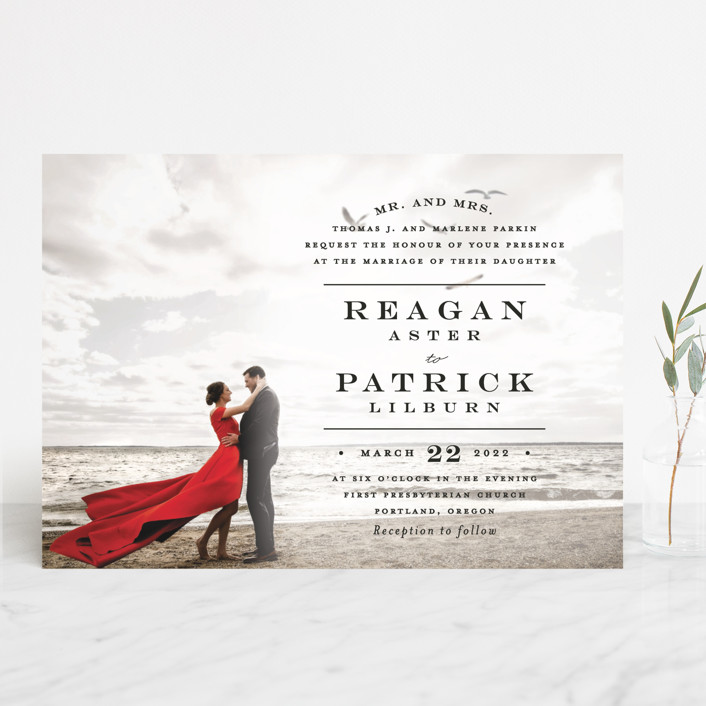 """""""Library Square"""" - Wedding Invitations in Charcoal by Little Words Design."""