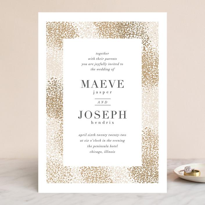 """Organic Dots"" - Bohemian Wedding Invitations in Champagne by lena barakat."