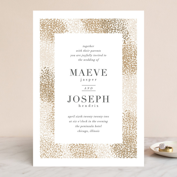 """Organic Dots"" - Bohemian Wedding Invitations in Champagne by lena barakat."