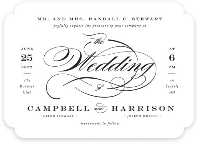 This is a black and white wedding invitation by Jennifer Postorino called Swept Away with standard printing on signature in standard.