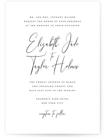 This is a black and white wedding invitation by Jennifer Postorino called Desire with standard printing on signature in standard.