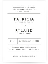 This is a black and white wedding invitation by That Girl Press called Ordered Grace with standard printing on signature in standard.