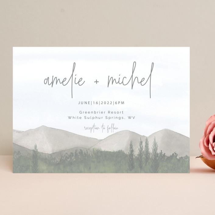 """muted mountains"" - Rustic Wedding Invitations in Splendid Day by Deborah Chou."