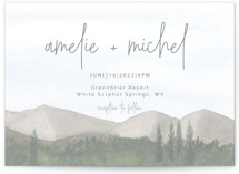 This is a grey wedding invitation by Deborah Chou called muted mountains with standard printing on signature in standard.