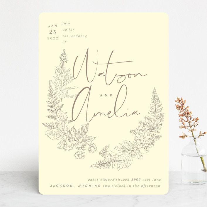 """Floral Frame Sketch"" - Wedding Invitations in Fog by Baumbirdy."