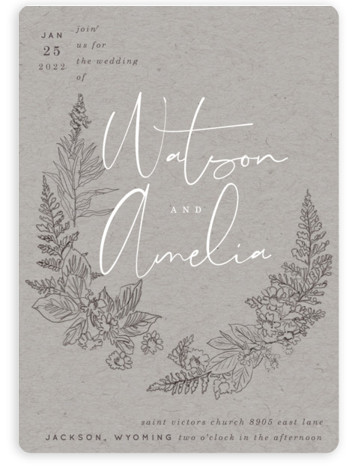 This is a grey wedding invitation by Baumbirdy called Floral Frame Sketch with standard printing on signature in standard.