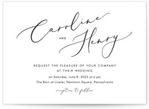 This is a black and white wedding invitation by Katherine Moynagh called Scripted Romance with standard printing on signature in standard.