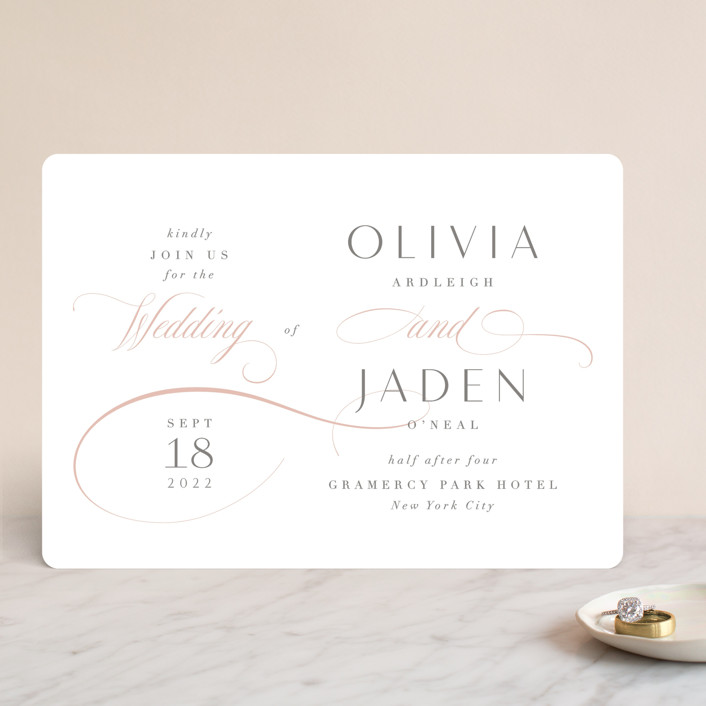 """Gramercy"" - Wedding Invitations in Blush by Kristie Kern."