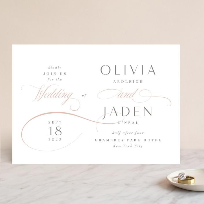 """Gramercy"" - Wedding Invitations in Blush by Kristie Kern."
