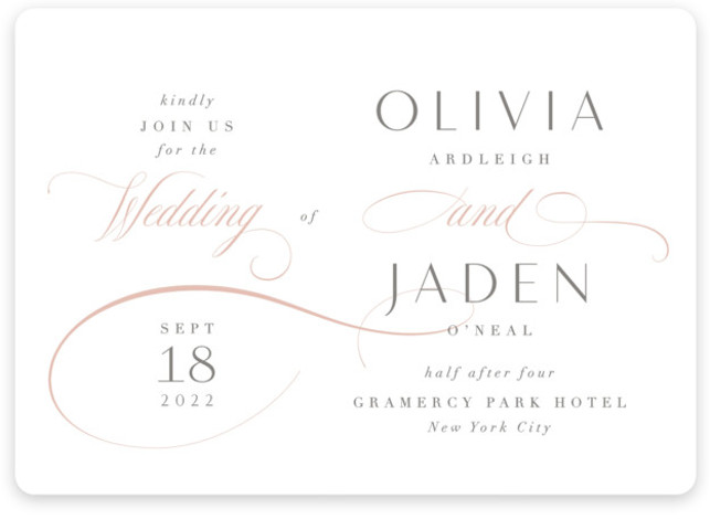 This is a pink wedding invitation by Kristie Kern called Gramercy with standard printing on signature in standard.