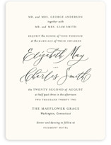 This is a white wedding invitation by Design Lotus called Elysium with standard printing on signature in standard.