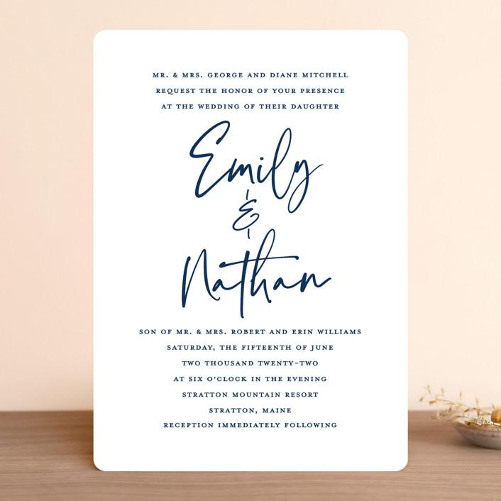 """Semi Formal"" - Wedding Invitations in Navy by Kerry Doyle - Paper Dahlia."