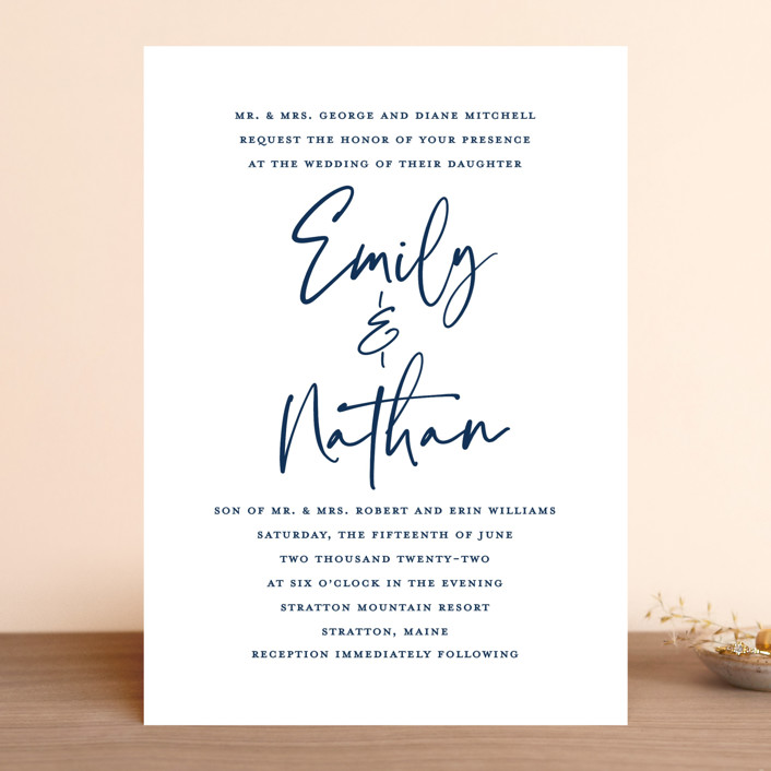 """Semi Formal"" - Wedding Invitations in Navy by Paper Dahlia."