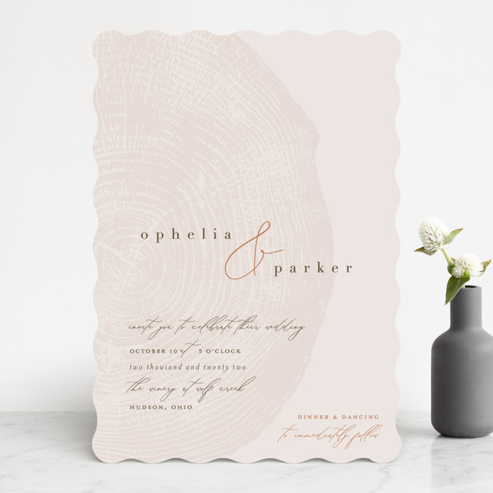 """""""a hundred years"""" - Rustic Wedding Invitations in Burnt Umber by Robin Ott."""