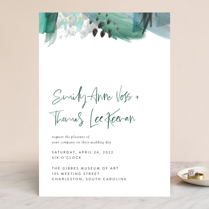 """Feathery Painted"" - Modern Wedding Invitations in Teal by Erika Firm."
