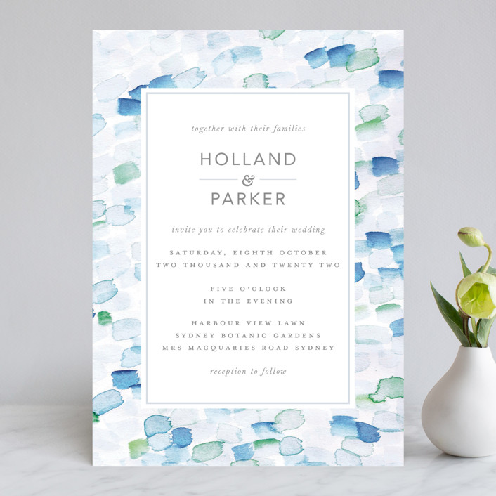 """Sea Glass"" - Wedding Invitations in Ocean by Hudson Meet Rose."