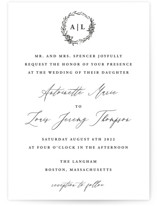 This is a black and white wedding invitation by lulu and isabelle called Antoinette with standard printing on signature in standard.
