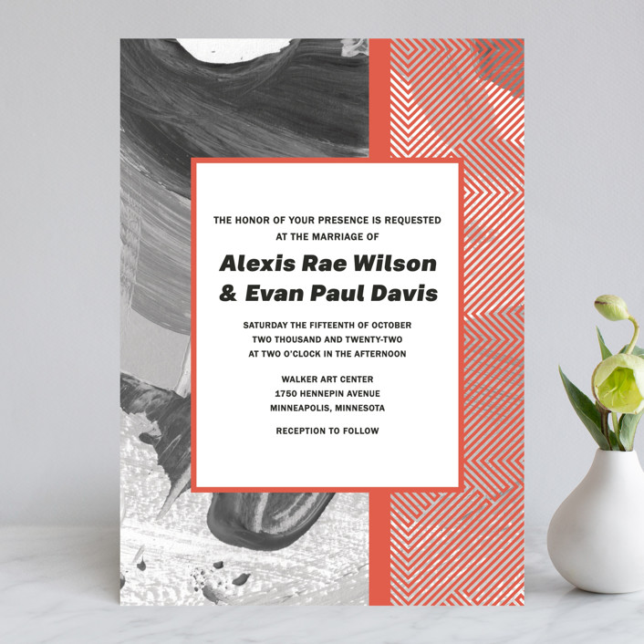 """""""Alexis"""" - Modern Wedding Invitations in Coral by Calee A.H. Cecconi."""