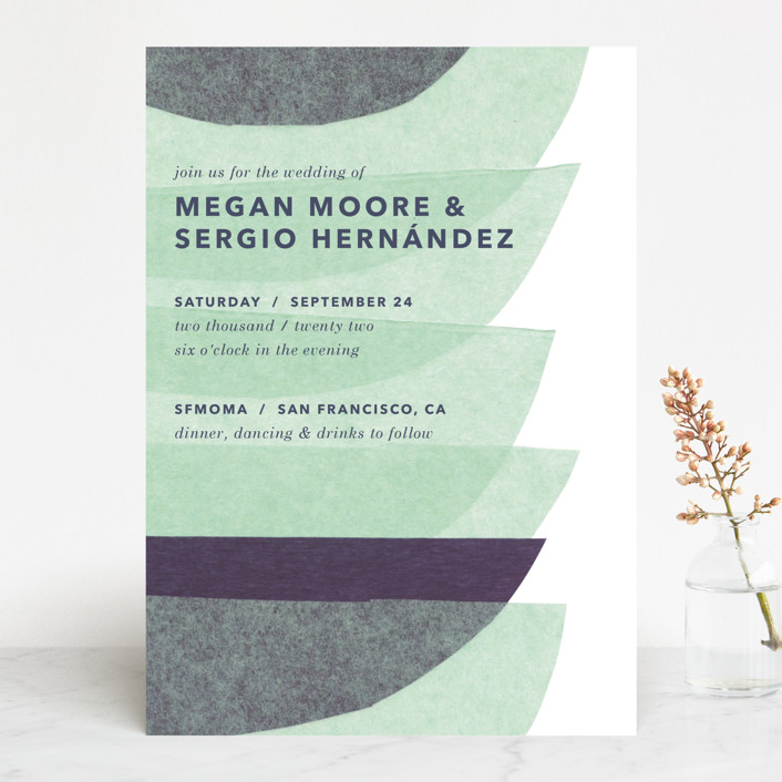 """""""tissue union"""" - Modern Wedding Invitations in Cucumber by Carrie Moradi."""