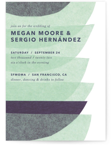 This is a blue wedding invitation by Carrie Moradi called tissue union with standard printing on signature in standard.