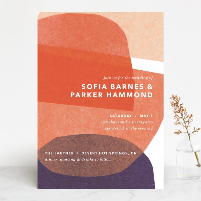 """tissue texture"" - Modern Wedding Invitations in Papaya by Carrie Moradi."