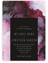 This is a pink wedding invitation by Itsy Belle Studio called Aurora with standard printing on signature in standard.