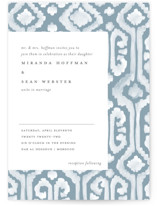 This is a blue wedding invitation by Liz Conley called Painted Ikat with standard printing on signature in standard.