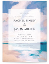 This is a blue wedding invitation by Nicole Walsh called Sand & Sun with standard printing on signature in standard.
