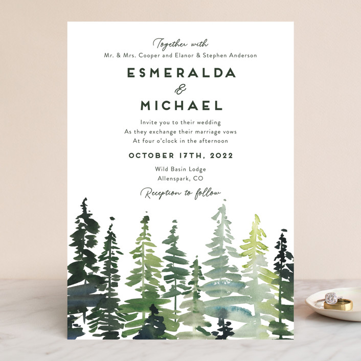 """""""Evergreens Watercolor"""" - Wedding Invitations in Forest by Yao Cheng Design."""