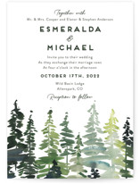 This is a green wedding invitation by Yao Cheng Design called Evergreens Watercolor with standard printing on signature in standard.