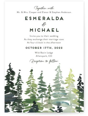 Evergreens Watercolor Wedding Invitations