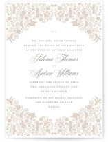 This is a grey wedding invitation by Lagniappe Paper called Hacienda with standard printing on signature in standard.