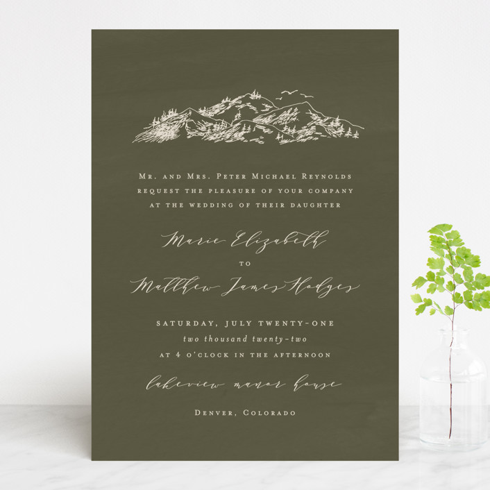 """into the mountains"" - Rustic Wedding Invitations in Olive by Helen Halik."